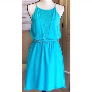 bebe Aqua Blue Sleeveless Midi Belted Dress M